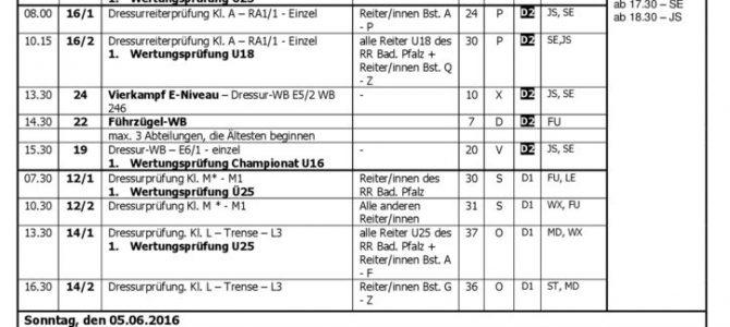 Zeiteinteilung für die Ringmeisterschaften